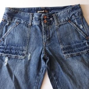 Rewind Jeans Size 11 Flare Leg Washed Distressed